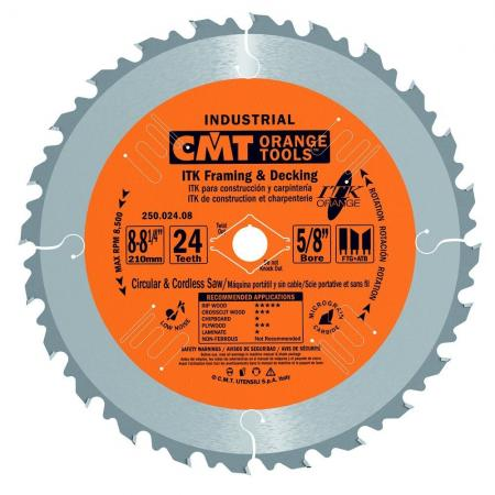 """CMT 8 to 8-1/4"""" 24T Industrial Thin Kerf Framing & Decking Saw Blade"""