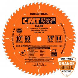 "CMT 10"" 60T Cut Off Saw Blade 5/8"" Bore Industrial Teflon Coated"