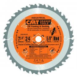 "CMT 7-1/4"" 24T Industrial Thin Kerf Framing & Decking Saw Blade"