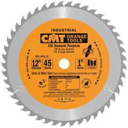 CMT Industrial Thin Kerf General Purpose Saw Blade, 12-Inch x 45 Teeth 1FTG+2ATB Grind with 1-Inch Bore