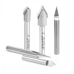 Amana 5-Pc Solid Carbide and Carbide Tipped 18, 30, 45, 60 & 90 Degree V-Groove Router Bit Pack 1/4 Inch Shank